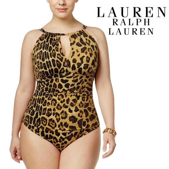 dcd603a73d8 Ralph Lauren Plus Size Leopard Print Swimsuit